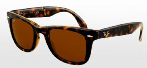 Ray-Ban Folding Wayfarer RB4105 - 710 Sunglasses - Shiny Avana Frame/ Brown Lens
