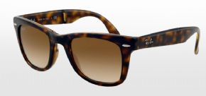 Ray-Ban Folding Wayfarer RB4105 - 710/51 50mm Sunglasses - Shiny Avana Frame/ Faded Brown Lens