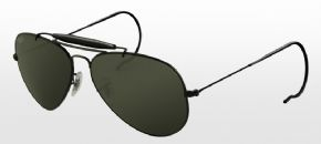 Ray-Ban Outdoorsman RB3030 - L9500 Sunglasses - Black Frame/ Green Lens