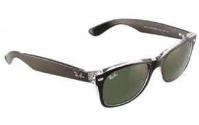 Ray-Ban New Wayfarer Sunglasses Rb2132 6052 Top Black On Transparent/ Green - Top Black on Transparent Frame with Green Lens