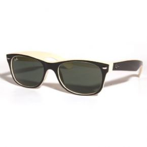 Ray-Ban New Wayfarer Sunglasses Rb2132 875 Top Black On Beige/ Crystal Green - TOP BLACK ON BEIGE Frame with Crystal Green Lens