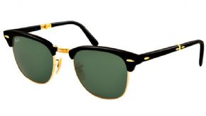 Ray-ban Folding Clubmaster Sunglasses Rb2176 901 Black / Crystal Green - Black Frame/ Crystal Green Lens