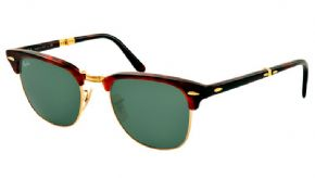 Ray-ban Folding Clubmaster Sunglasses Rb2176 990 Havana / Crystal Green - Havana Frame/ Crystal Green Lens